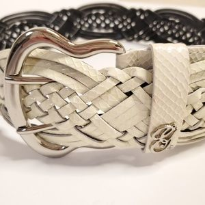 Guess Big Buckle Belt Cream Snakeskin Textured